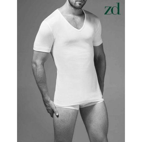 T-shirt Homme col en V Fil d'Ecosse ZD