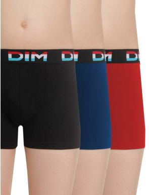 Lot de 2 boxers unis coton stretch Dim boy