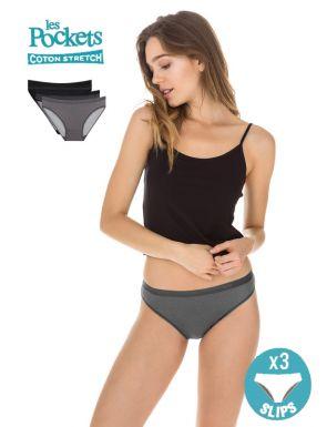 Slips femme Coton les Pockets Logo x3