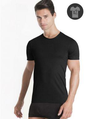 Lot de 2 T-shirts Homme Col rond en coton