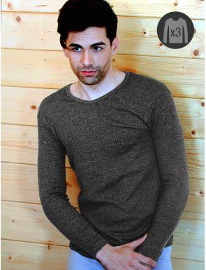 "Lot x3 Tee-shirts Homme M/L Chaudes ""V"""