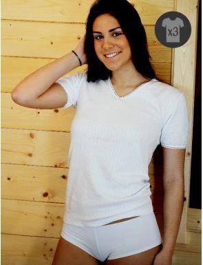 Lot x3 Tee-shirts Femme M/C Chaudes
