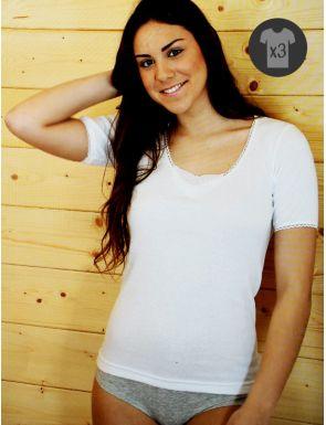 Lot x3 T-shirts Femme M/C Chauds Brodé