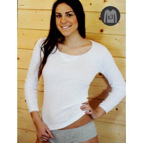 Lot x3 T-shirts Femme M/L Chauds Brodé