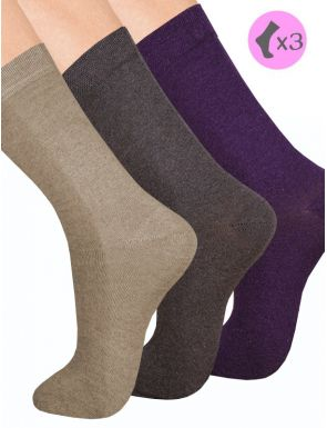 Chaussettes Coton thermal Femme Lot x3