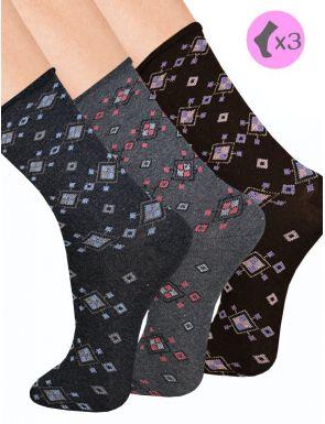 Chaussettes bord roulé Femme Lot x3