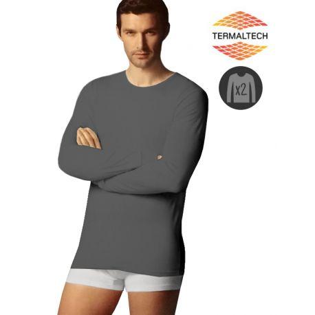 Lot de 2 T-Shirts manches longues gris avec col rond