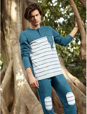 Pyjama homme en coton aux raies