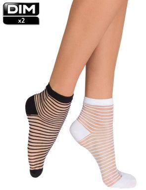 Socquettes femme fantasie aux raies DIM x2