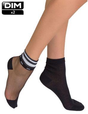 Socquettes femme fantasie noires DIM x2