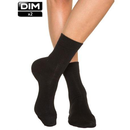 Mi-chaussettes femme en coton DIM x2
