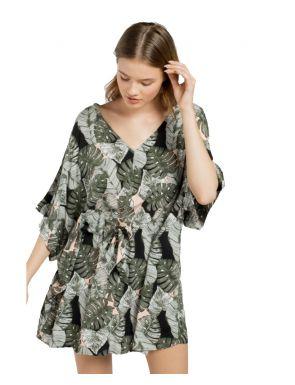 Robe de plage Gisela à feuilles imprimées