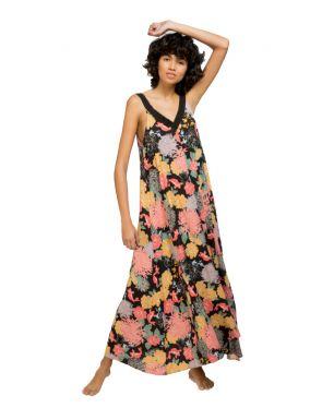 Robe de bain longue à imprimé floral