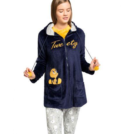 Robe de chambre animal en peluche Tweety à capuche