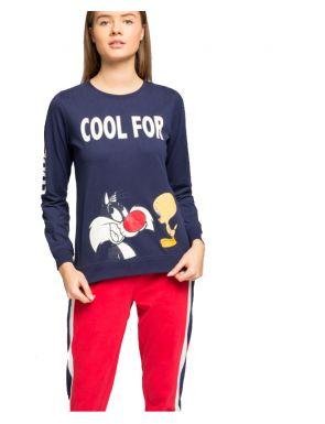 Pyjama long en coton Sylvester pour femme