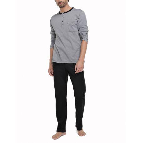 Pyjama noir en fil écossais
