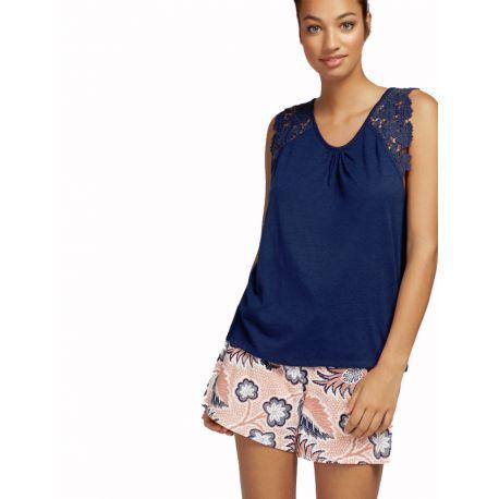 Pyjama court à fleurs Gisela