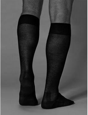 Chaussettes hautes en fil écossais ZD