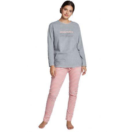 Pyjama long en molleton pour femme