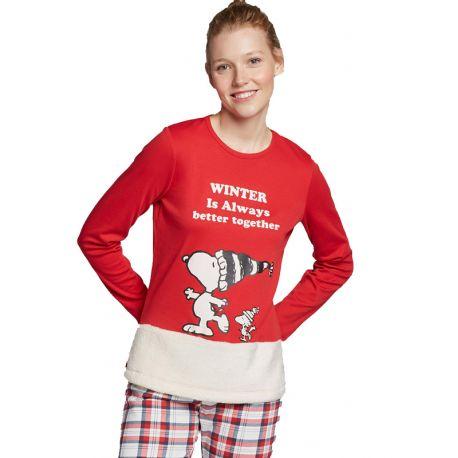 Pyjama long Snoopy en tissu teddy femme