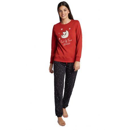 Pyjama long en maille Snoopy pour femme