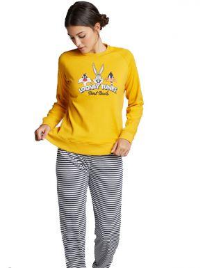 Pyjama rayé Looney Tunes pour femme