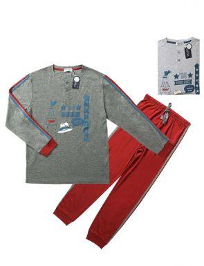 Pyjama de la marque Tress en rouge gris / bleu gris, tailles M / XXL