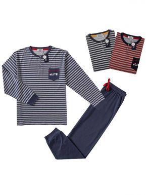 Pyjama de la marque Tress en bleu / rouge / gris, tailles M / XXL