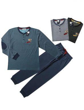 Pyjama de marque Tress avec grille en bleu / vert / noir, tailles M / XXL