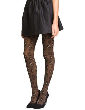 Collants femme velours noir imprimé léopard