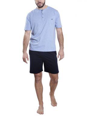 Pyjama court en bleu